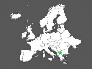 Map of Europe and Macedonia.