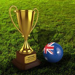3d Australia Soccer Cup and Ball Grass Background - isolated