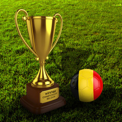 3d Belgium Soccer Cup and Ball with Grass Background - isolated
