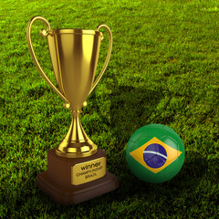 3d Brazil Soccer Cup and Ball with Grass Background - isolated