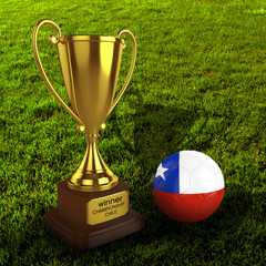 3d Chile Soccer Cup and Ball with Grass Background - isolated