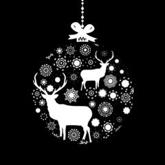 Black and White Christmas ball. EPS 8