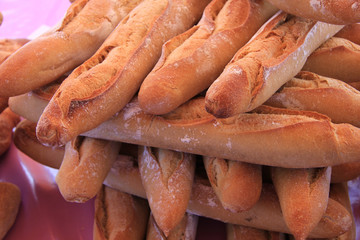Fresh baguettes at a local market