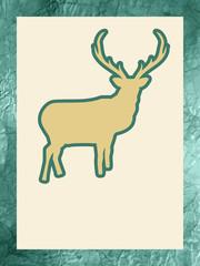Christmas silhouette of reindeer. EPS 8