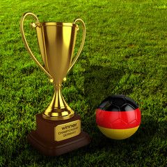 3d Germany Soccer Cup and Ball with Grass Background - isolated