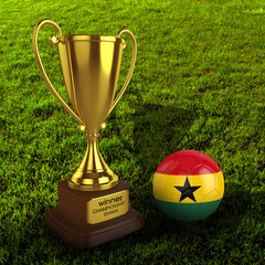 3d Ghana Soccer Cup and Ball with Grass Background - isolated