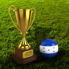 3d Honduras Soccer Cup and Ball with Grass Background - isolated