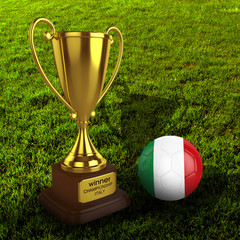 3d Italy Soccer Cup and Ball with Grass Background - isolated