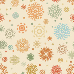 Christmas pattern with colorful snowflakes. EPS 8