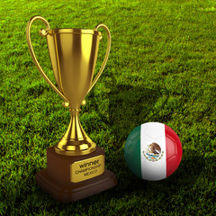 3d Mexico Soccer Cup and Ball with Grass Background - isolated
