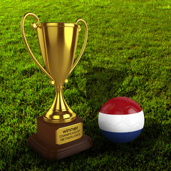 3d Netherlands Soccer Cup and Ball Grass Background - isolated