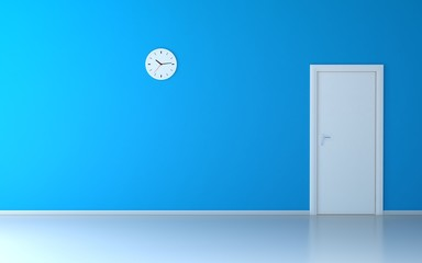 Wall clock in empty room with blue wall and white door
