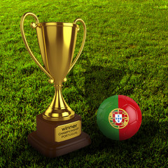 3d Portugal Soccer Cup and Ball with Grass Background - isolated