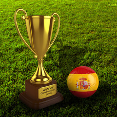 3d Spain Soccer Cup and Ball with Grass Background - isolated