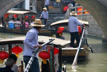 canals of Zhujiajiao town - Chinese Venice near Shanghai