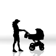 Vector silhouette of family.