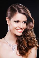 close up beauty portrait of happy elegant brunette woman with