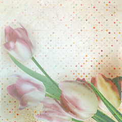 Vintage text frame with tulips, old paper. EPS 10