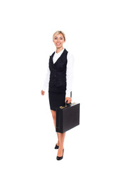Businesswoman full length isolated