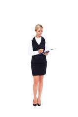 Businesswoman full length isolated