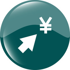 Yen currency symbol and arrow web button icon