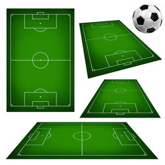 Illustration of a soccer field and soccer ball