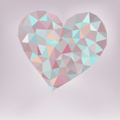 Retro heart made from color triangles.  + EPS8