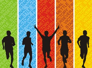 Athletes on a colored background