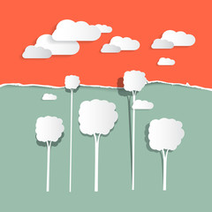 Paper Clouds and Trees - Nature Illustration