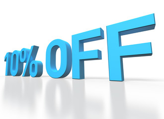 3d rendering of a 10 percent off blue text