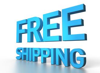 3d rendering of Free shipping blue glossy text on white backgrou