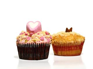 Pinker und gelber Cupcake