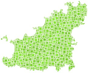 Decorative map of Guernsey in a mosaic of green squares