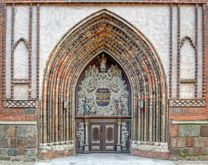 Entrance to the Cathedral St. Nikolai in Stralsund (Germany)