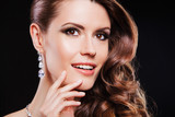 close up portrait brunette woman with luxury accessories. - 65675654