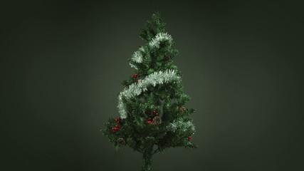 christmas tree isolated on black background