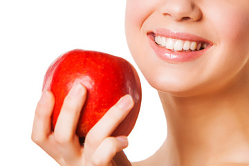 Healthy Teeth And Red Apple