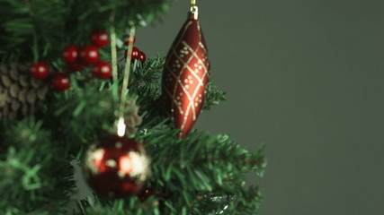 christmas tree isolated on black background close-up defocus