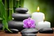 spa still life zen basalt stones and orchid