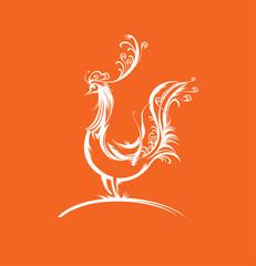 Fabulous bird silhouette. Hen.