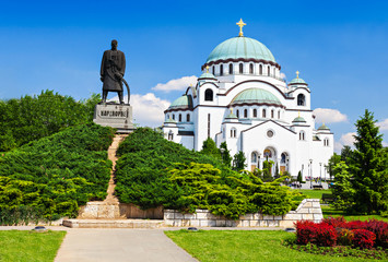 Sava Cathedral and Karadjordje statue