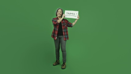 caucasian casual girl isolated on green screen grateful with