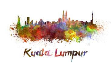 Kuala Lumpur skyline in watercolor