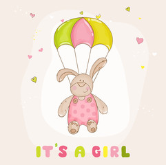 Baby Bunny with Parachute - Baby Shower or Arrival Card