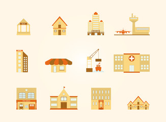 Buildings in the city icons set, EPS10 Vector