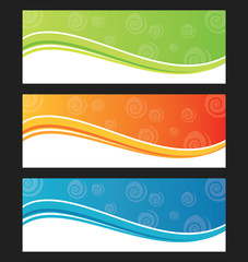 Set of wave background banner or header.