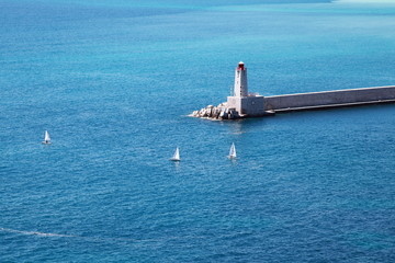 Lighthouse in the Bay of Villefranche, France. French Riviera