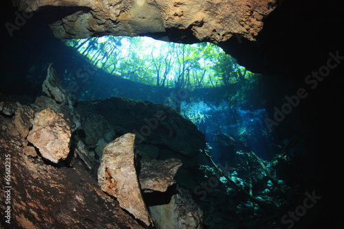 Entrance area of cenote underwater cave