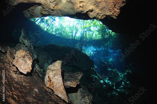 Papiers peints Recifs coralliens Entrance area of cenote underwater cave