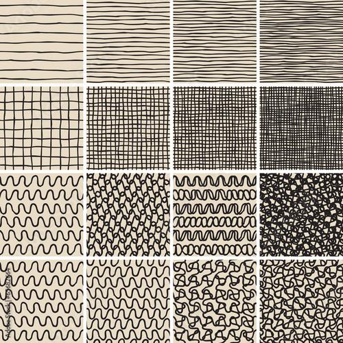Staande foto Kunstmatig Basic Doodle Seamless Pattern Set No.1 in black and white